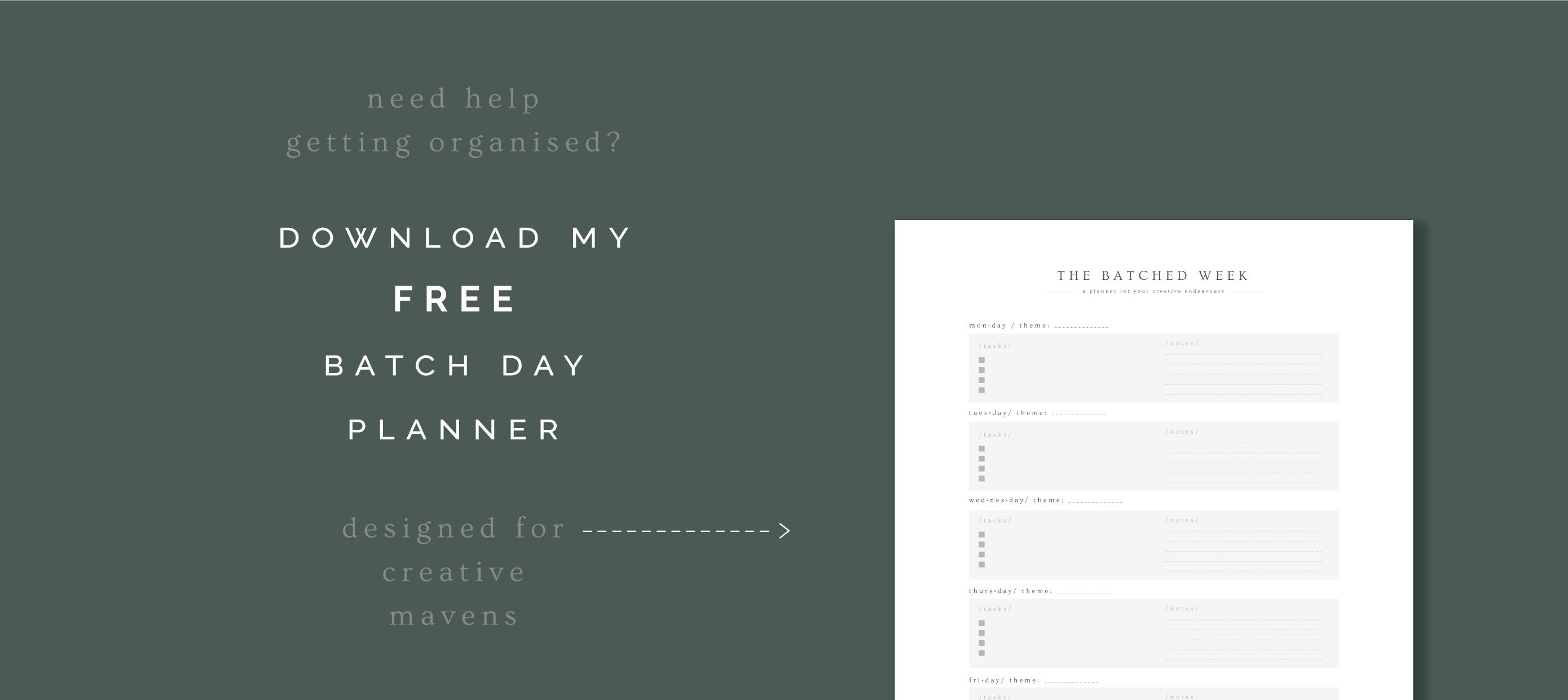 freebie free weekly creative maven batch day business planner banner